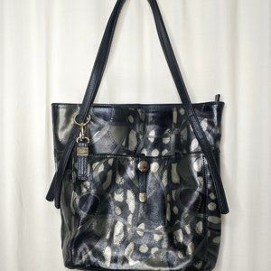 Buxton Caitlin Black Multi Leather Tote